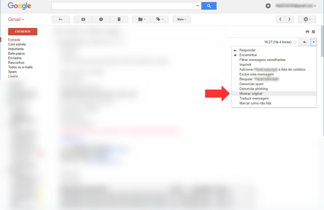 Gmail - Obter mensagem original