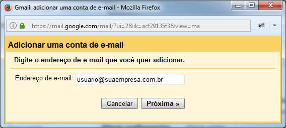 Gmail - Adicionar uma conta de e-mail