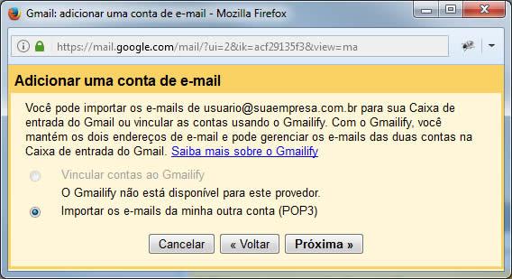 Gmail - Adicionar uma conta de e-mail - Gmailify