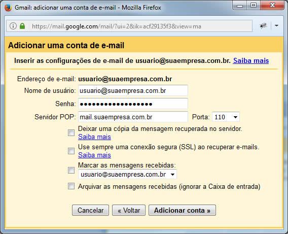 Gmail - Adicionar Dados do Servidor do outro endereço de e-mail que você possui