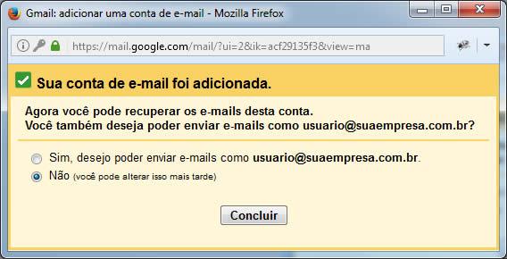 Gmail - Tela de Conta Adicionada