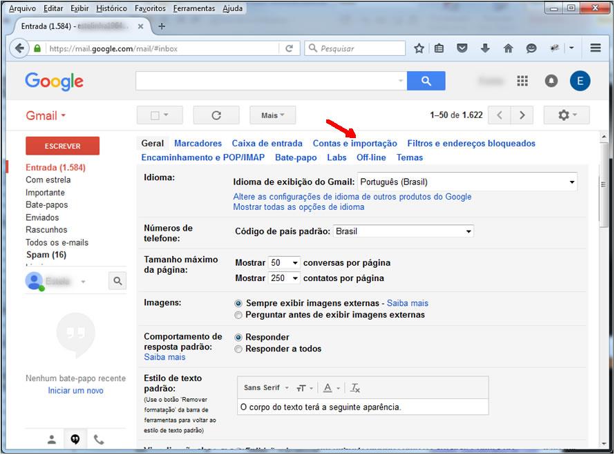 Gmail - Tela de Configurações
