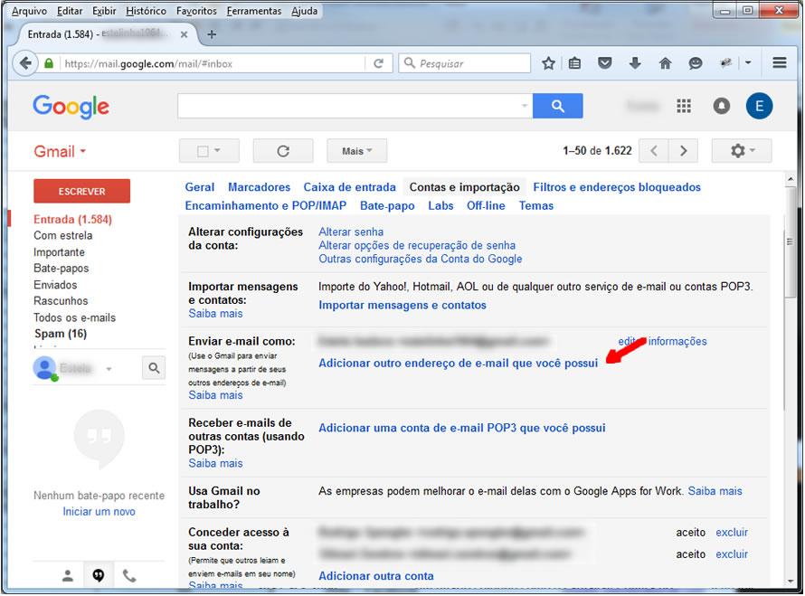 Gmail - Tela de Contas e Importação