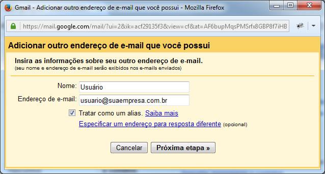 Gmail - Adicionar outro endereço de e-mail que você possui