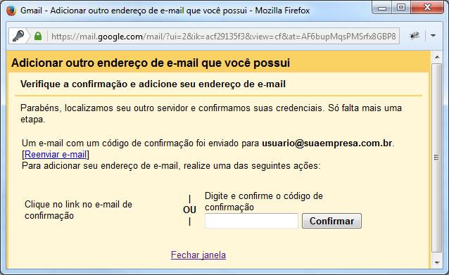 Gmail - Tela para informar o código de confirmação