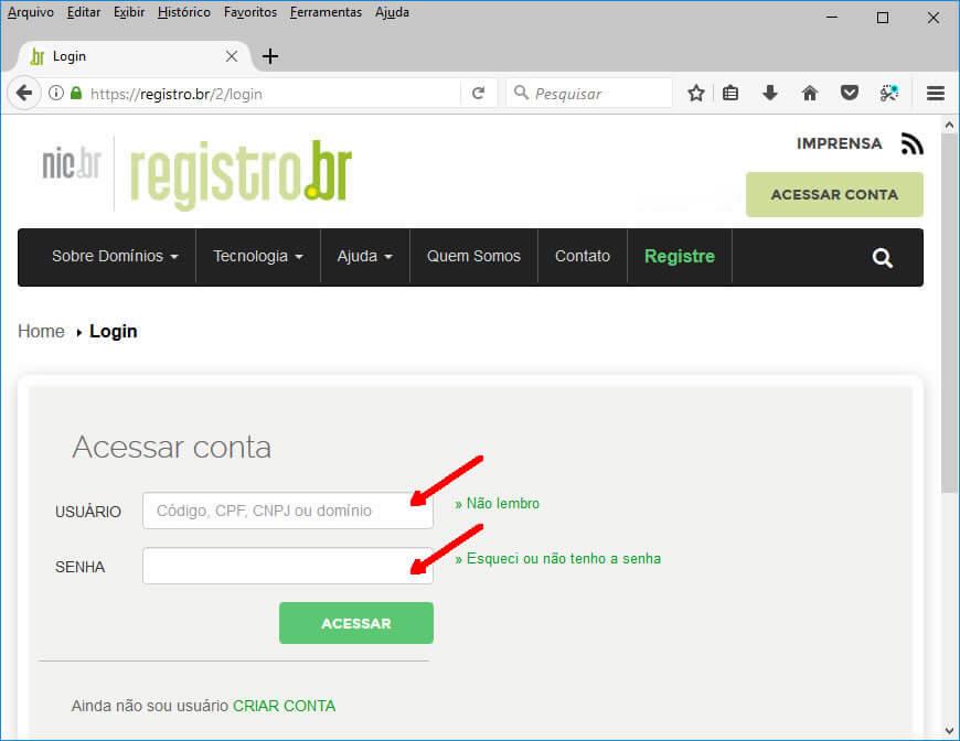 Registro.br - Tela de Login