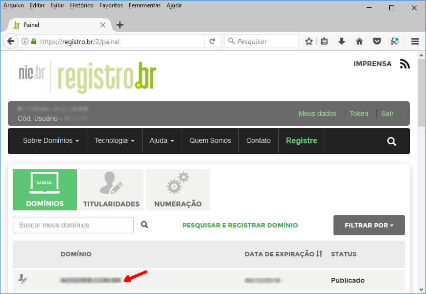 Registro.br - Tela de Domínios